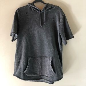 Hollister gray distressed short sleeve hoodie XL